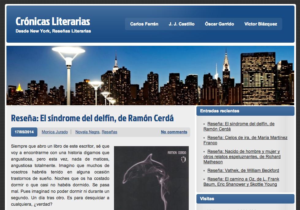 #reseña de el síndrome del delfín en crónicas literarias